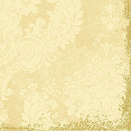 DUNI Servietten KLASSIK -- 40x40cm -- 50 Stck -- Royal cream mit Goldrand