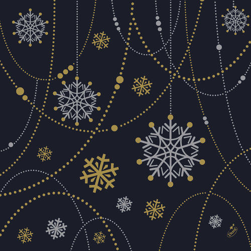 1a Duni Dunilin-Servietten --- Snowflake Necklace Black --- 40 x 40 cm --- 50 Stück